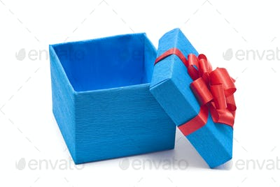 Open Blue Gift Box With Red Bow