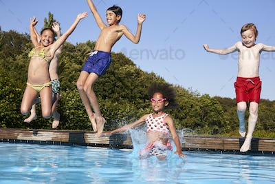 c7001fcd60e25 Group Of Children Jumping Into Outdoor Swimming Pool